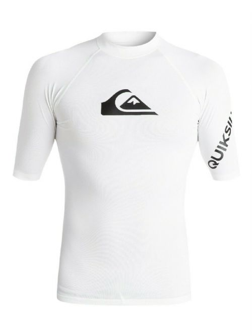 QUIKSILVER MENS RASH VEST.ALL TIME UPF50+ SURF RASHGUARD WHITE TOP T SHIRT 9W 36